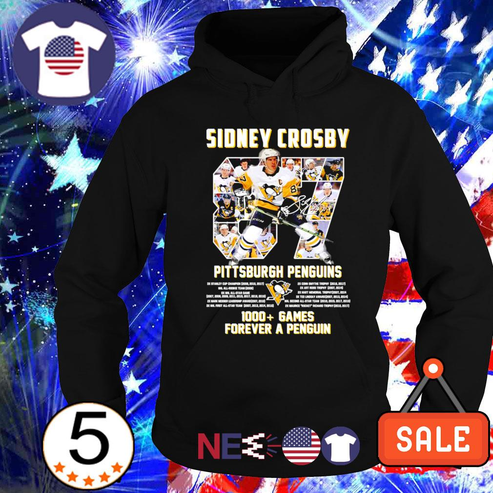 Pittsburgh Penguins Sidney Crosby 1000 games forever a Penguin s hoodie