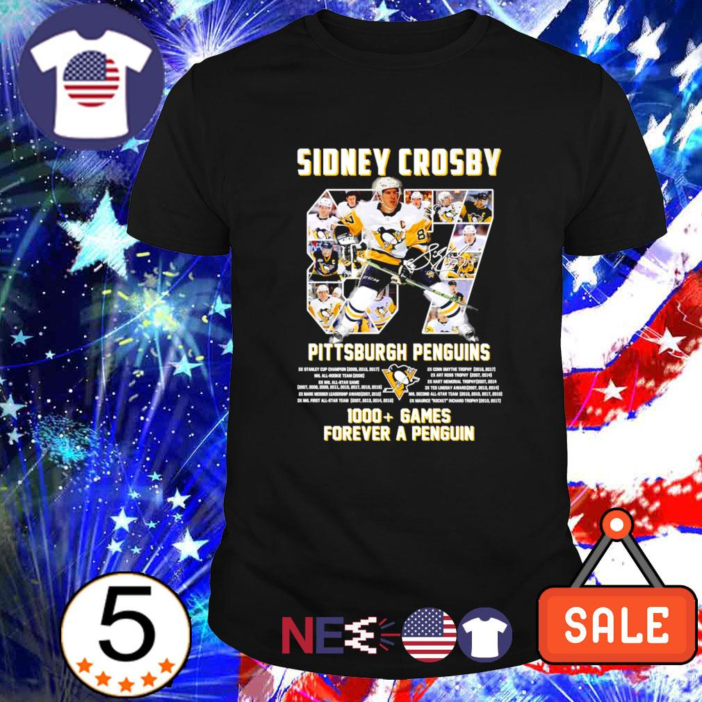 Pittsburgh Penguins Sidney Crosby 1000 games forever a Penguin shirt