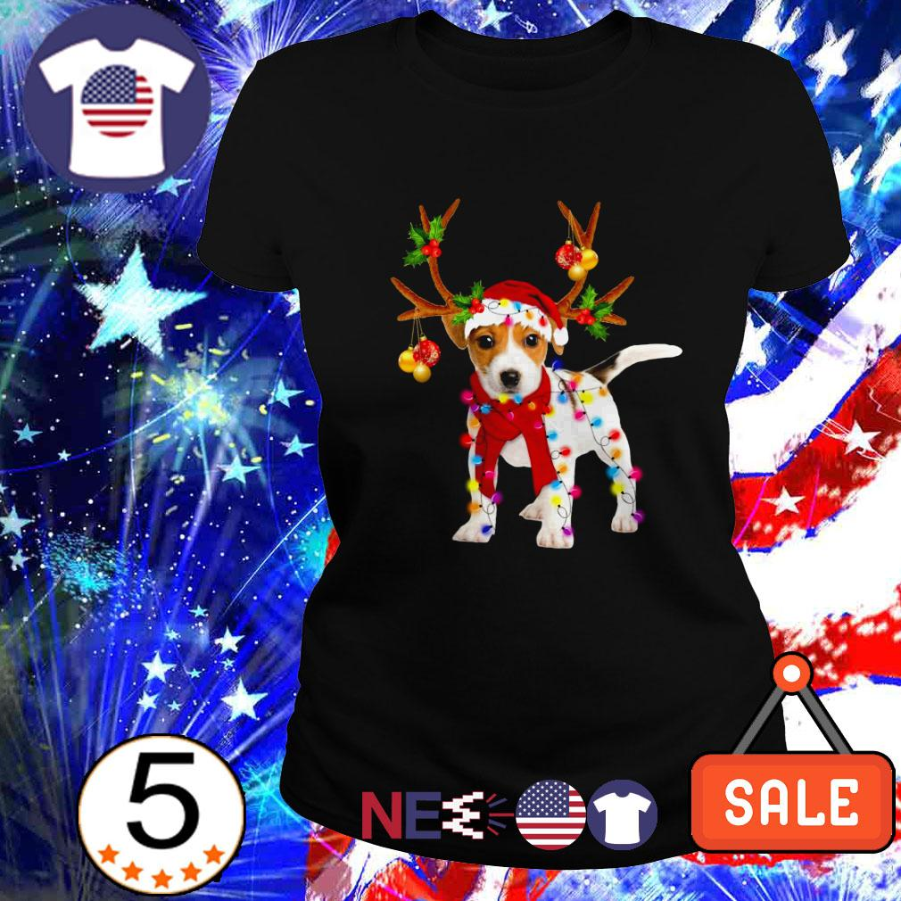 Jack Russell gorgeous reindeer Christmas Ladies tee