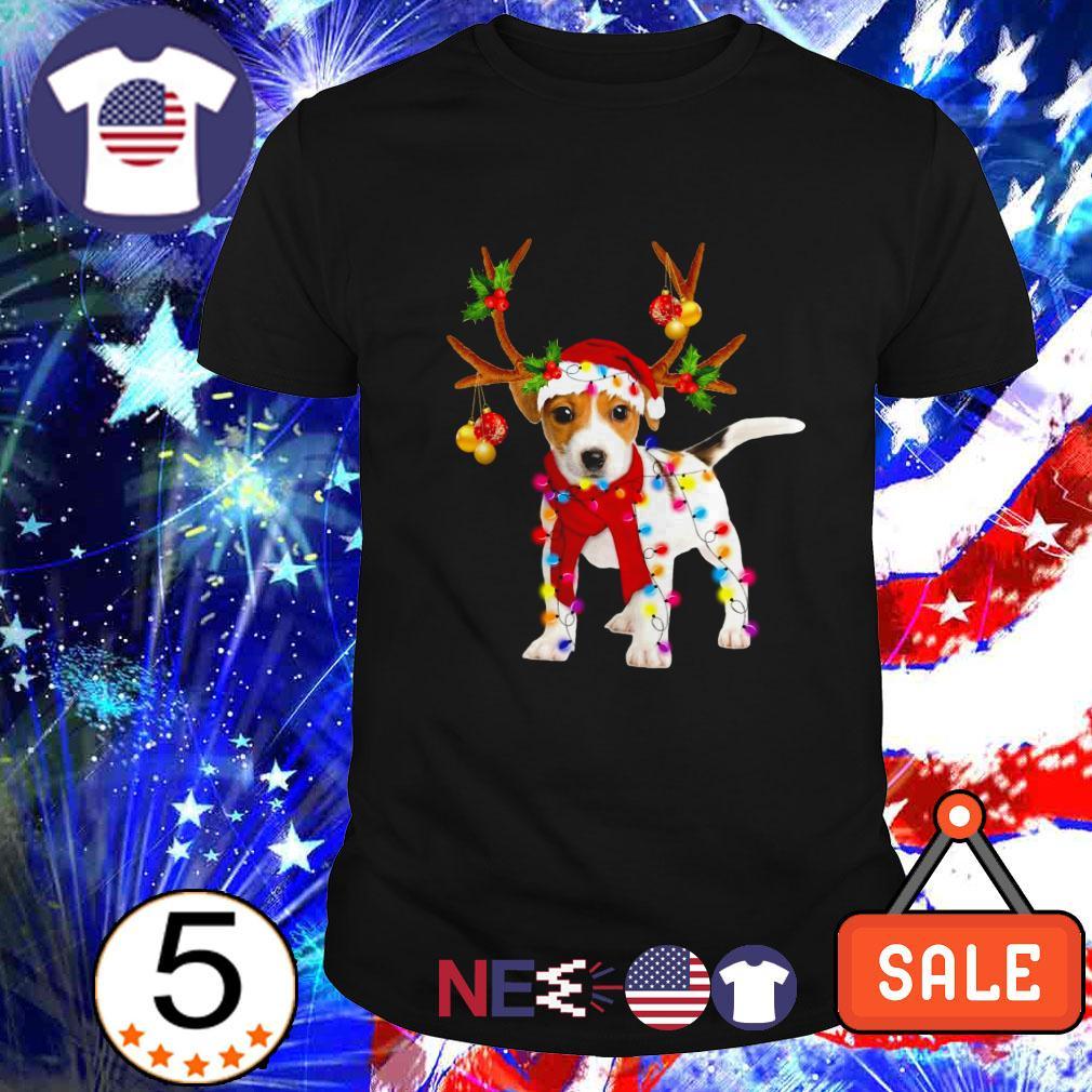 Jack Russell gorgeous reindeer Christmas Guys shirt