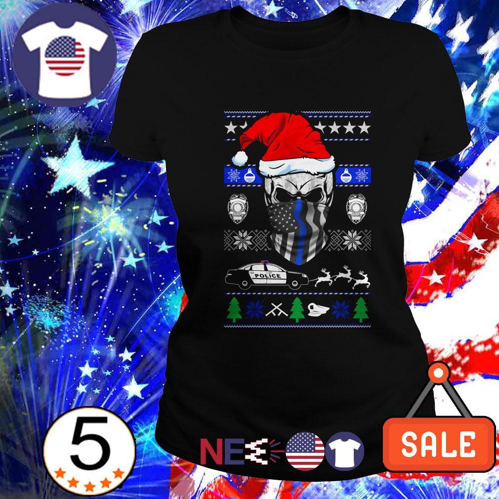 Thin Blue Line skull Santa Christmas Ladies tee