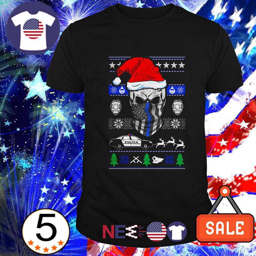 Thin Blue Line skull Santa Christmas Guys shirt