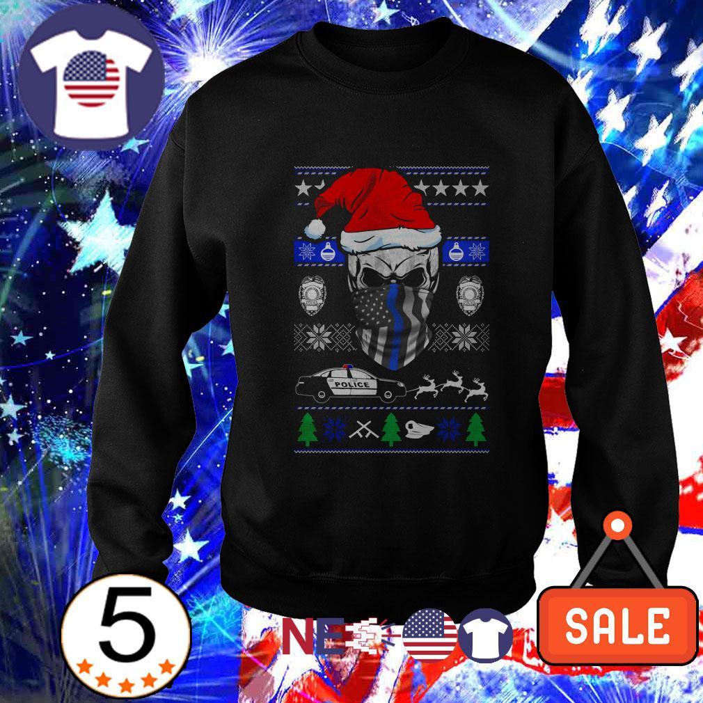 Thin Blue Line skull Santa Christmas sweater