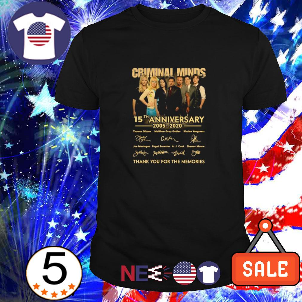 Criminal Minds 15th Anniversary 2005 2020 thank you for the memories signature shirt