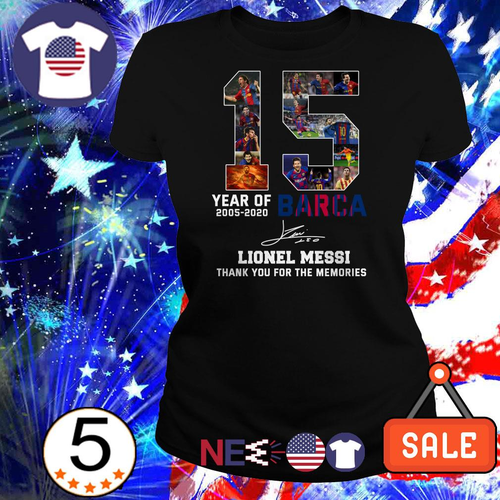 15 year of FC Barca Lionel Messi thank you for the memories signatures shirt from Nicefrogtees