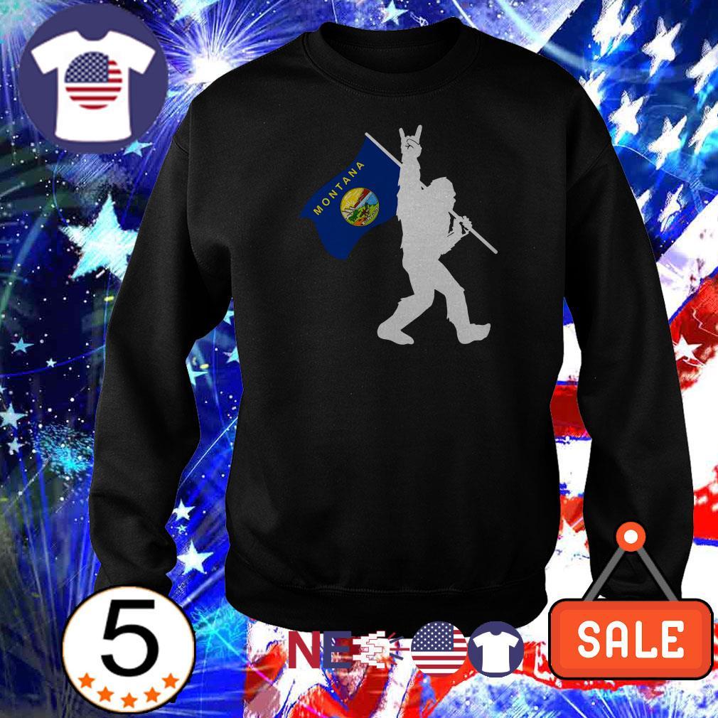 Bigfoot Rock and Roll Montana Flag shirt