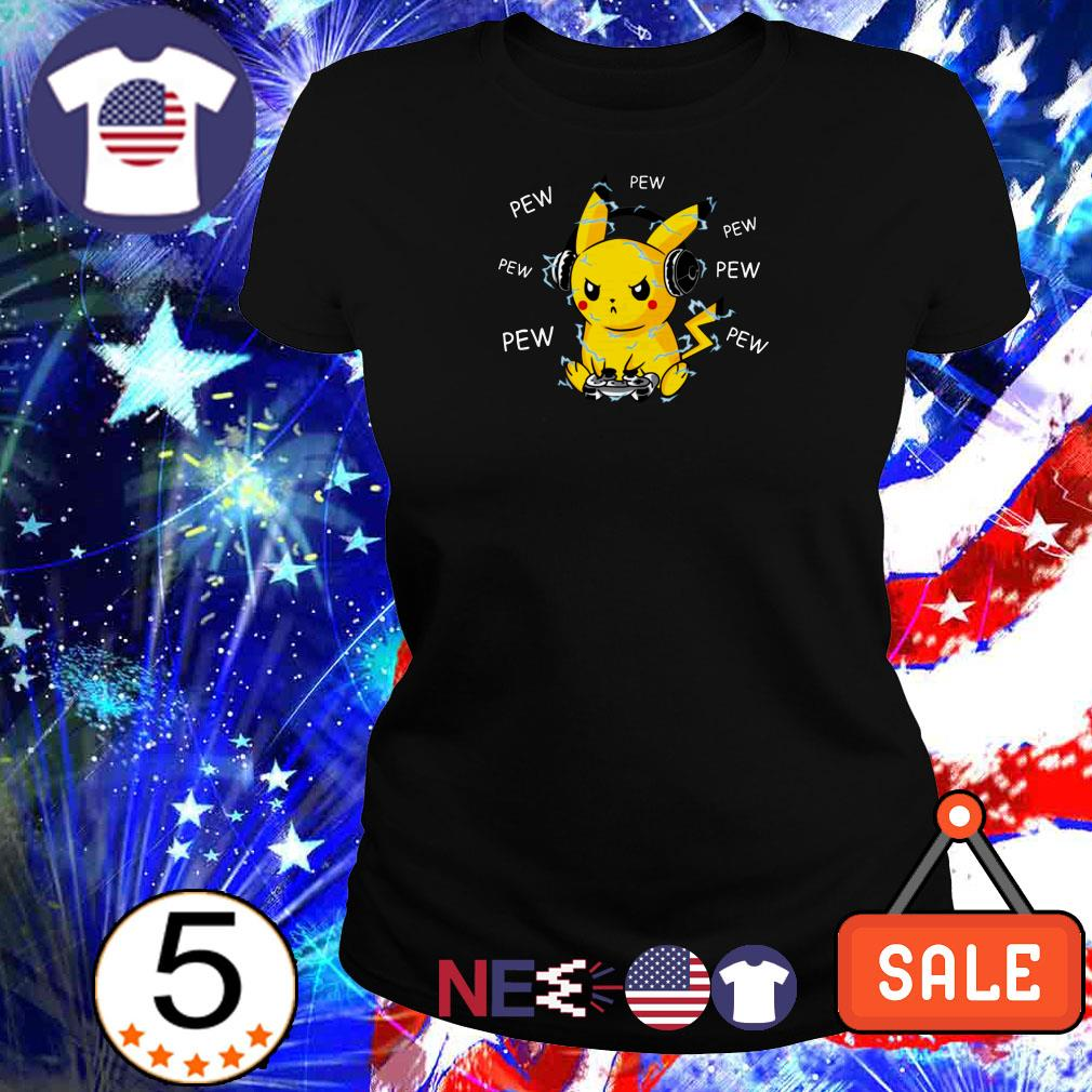 Pikachu playing games pew pew pew shirt