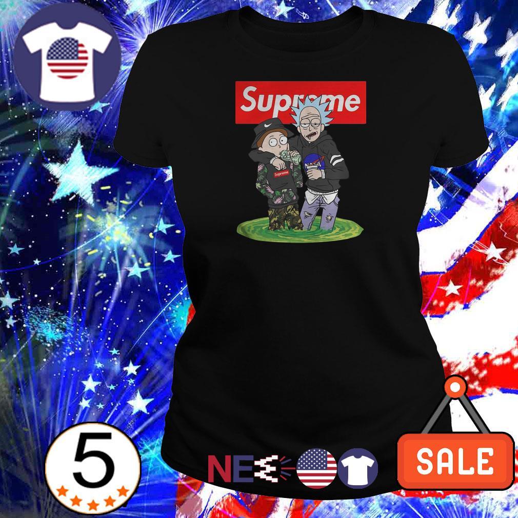 Rick and Morty wearing Supreme shirt