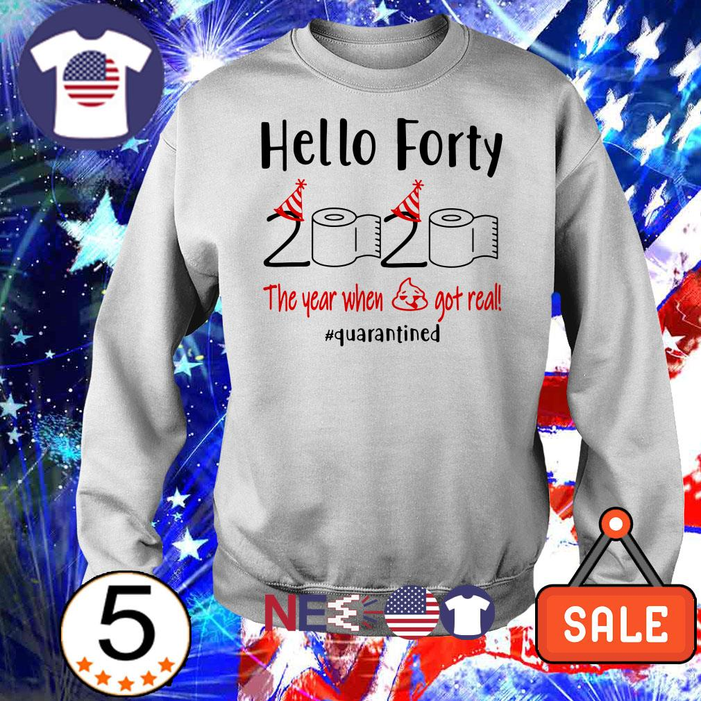 Hello forty 2020 the year when shit got real #quarantined shirt