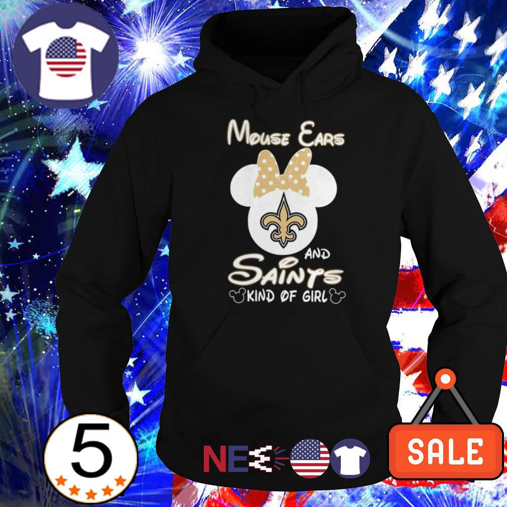 Mouse ears and New Orleans Saints kind of girl shirt
