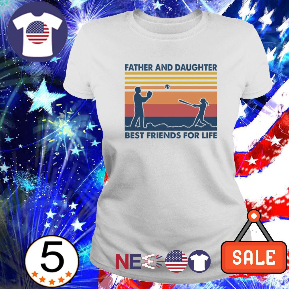 Softball Father and Daughter best friends for life vintage s ladies tee