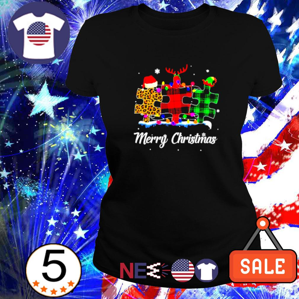 Autism plaid leopard Merry Christmas s ladies tee