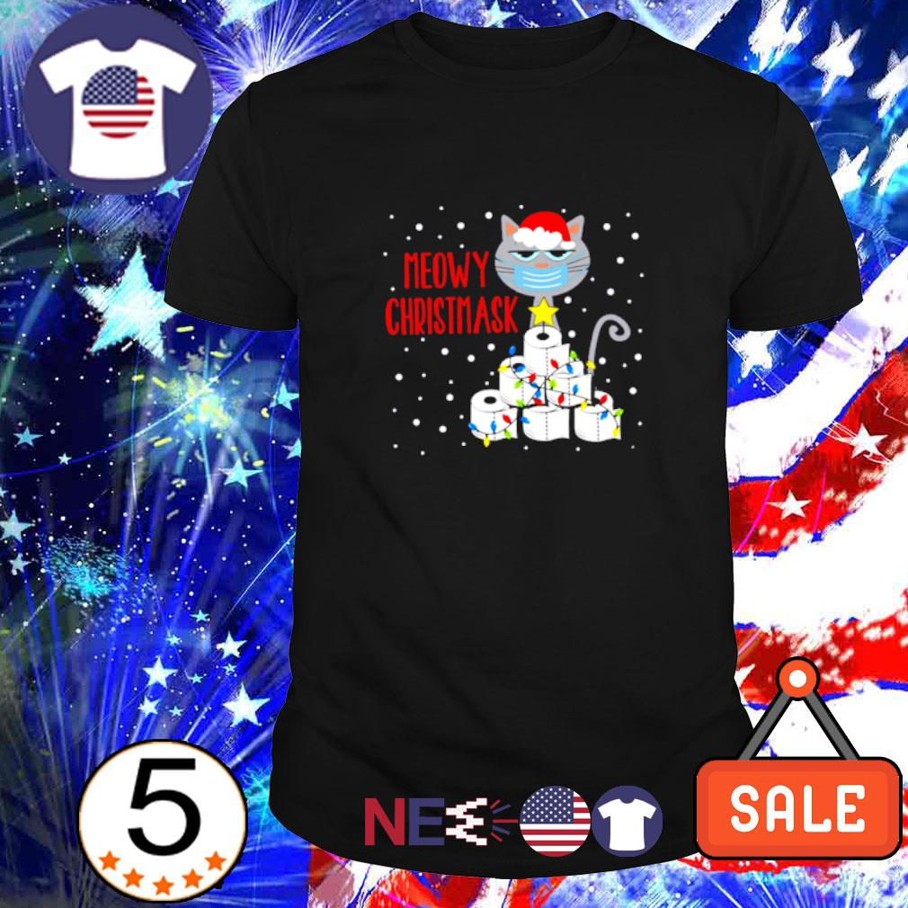 Cat face mask toilet paper meowy Christmask Christmas shirt