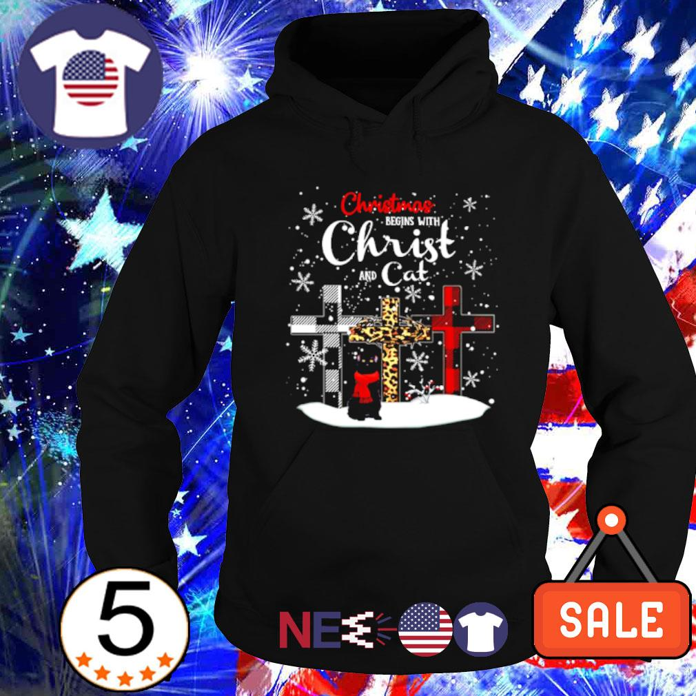 Christmas begins with Christ and cat s hoodie
