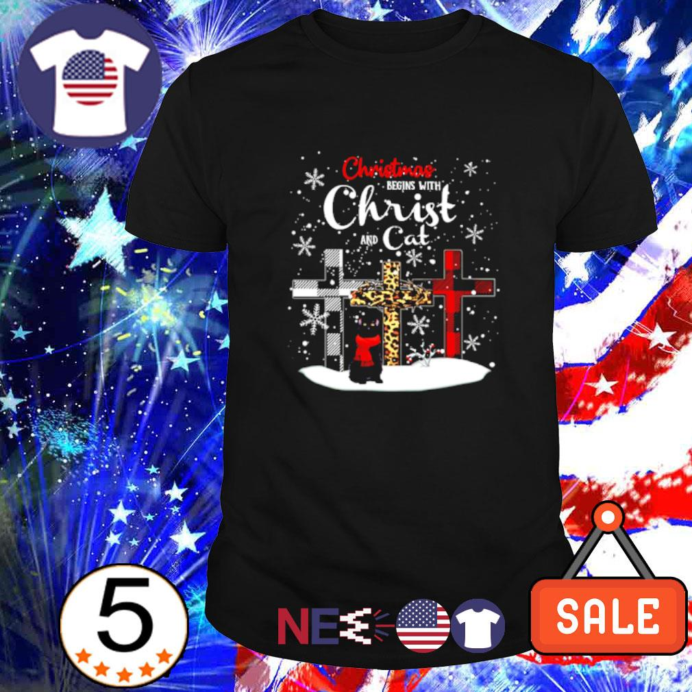 Christmas begins with Christ and cat shirt
