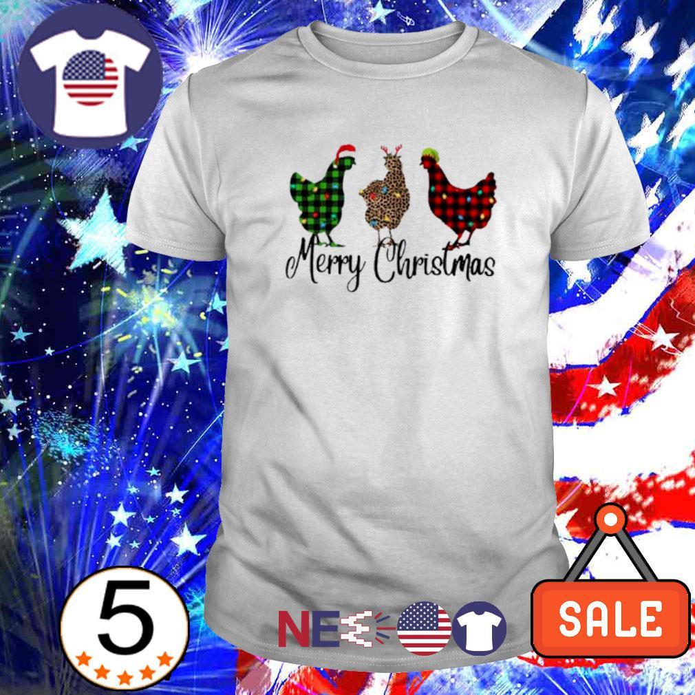 Santa Reindeer Elf three hens Merry Christmas shirt